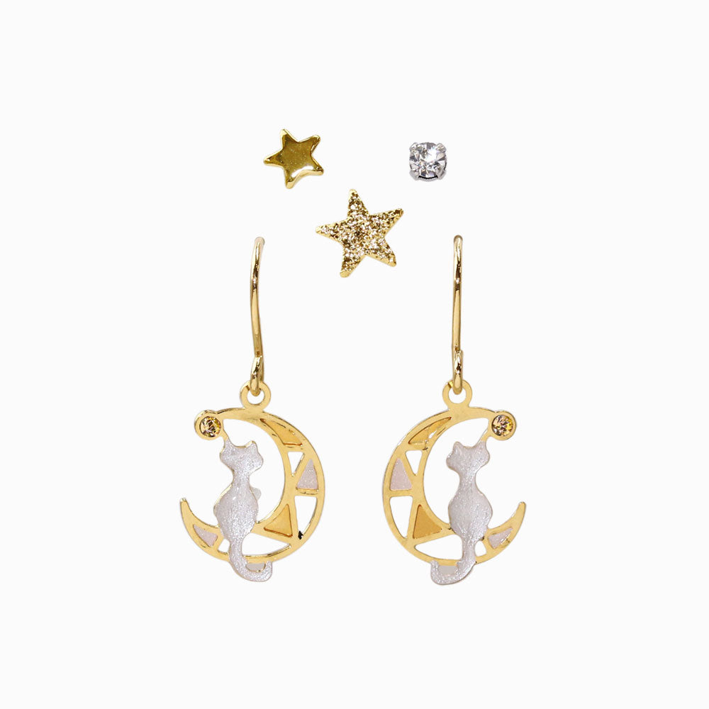 Cat and Moon Earrings Set - osewaya