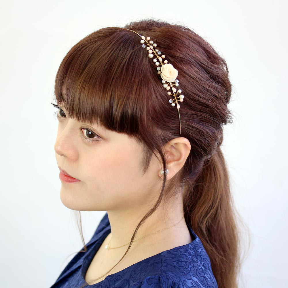Flower and Bunch of Pearls Headband