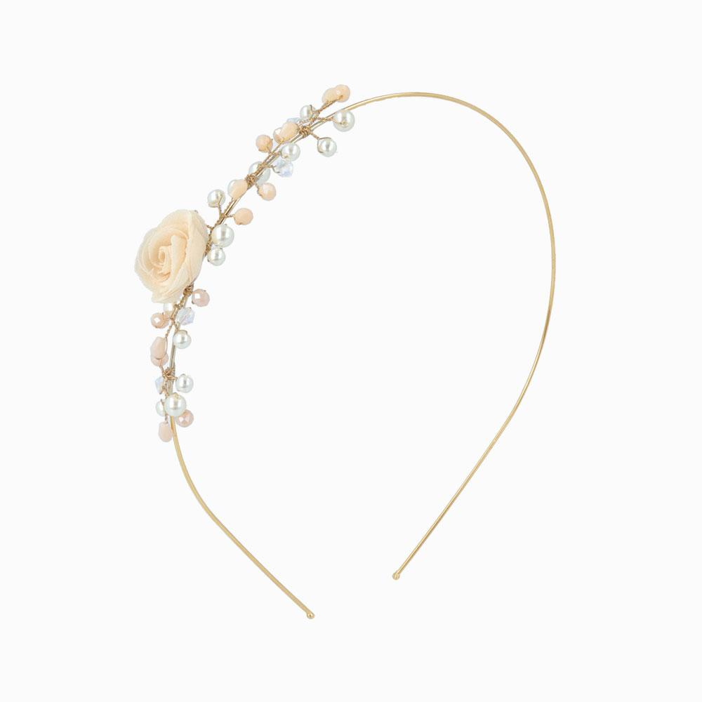 Flower and Bunch of Pearls Headband - osewaya