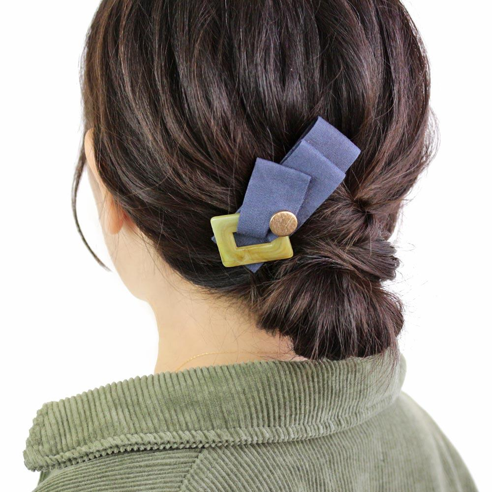 Linen Ribbon Hair Barrette - Osewaya