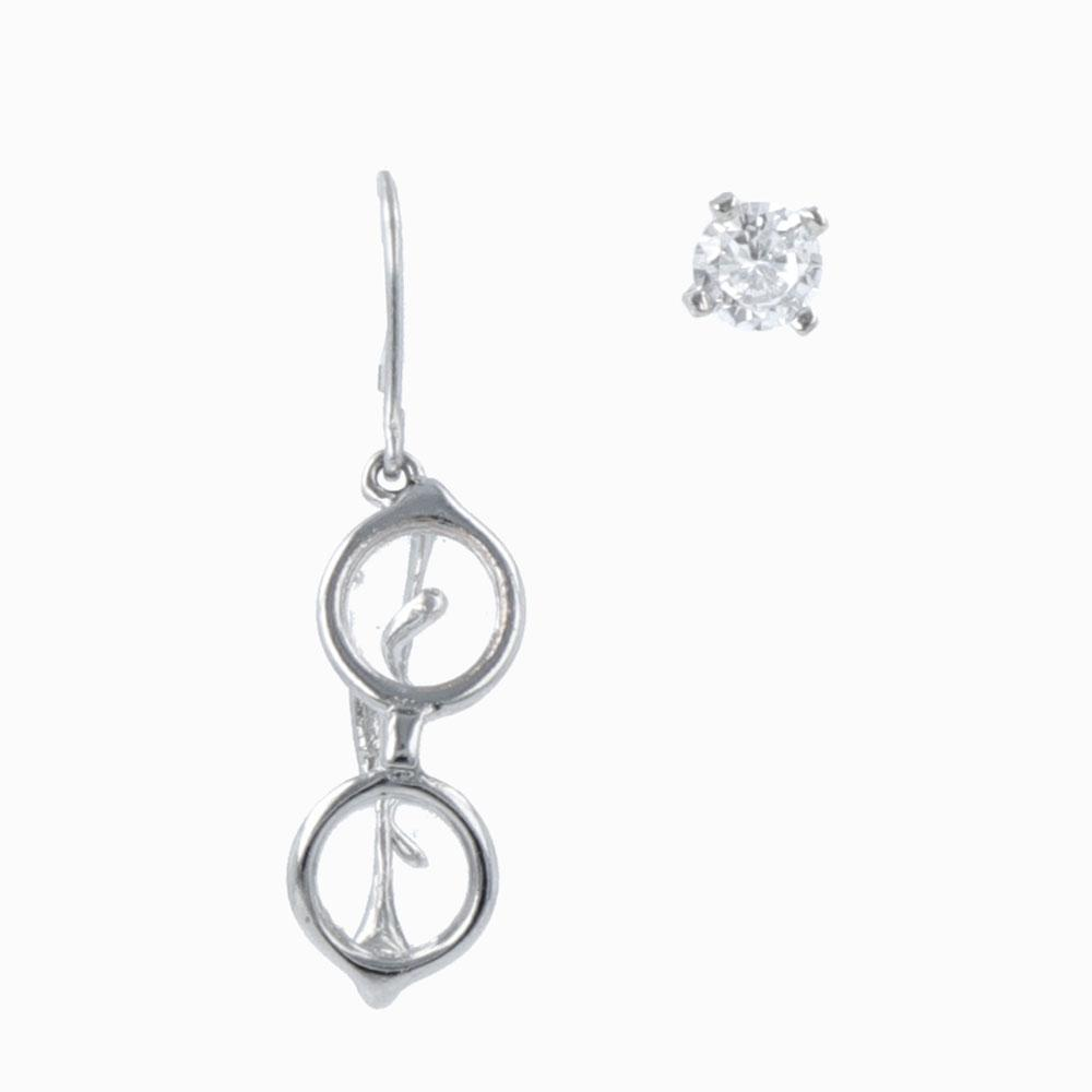 Tiny Round Eyeglasses Drop Hook Earrings in Silver Tone - osewaya