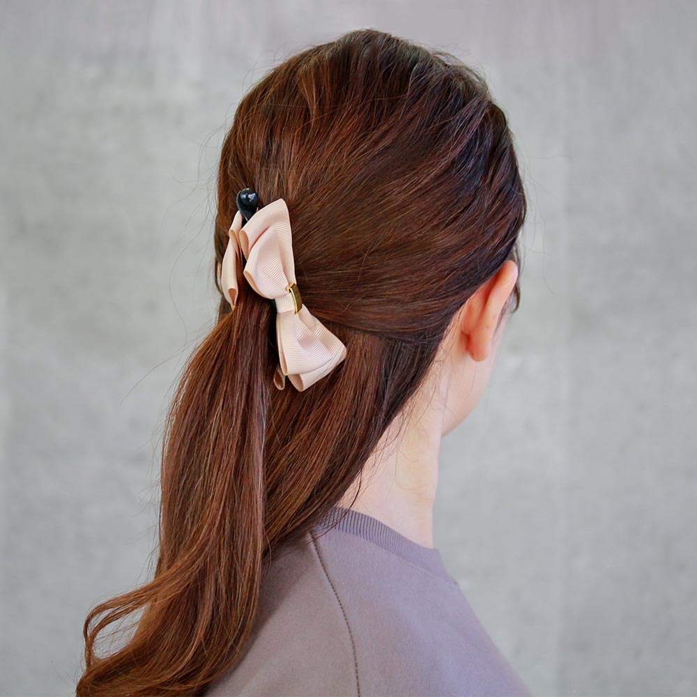 Grosgrain Bow Banana Hair Clip