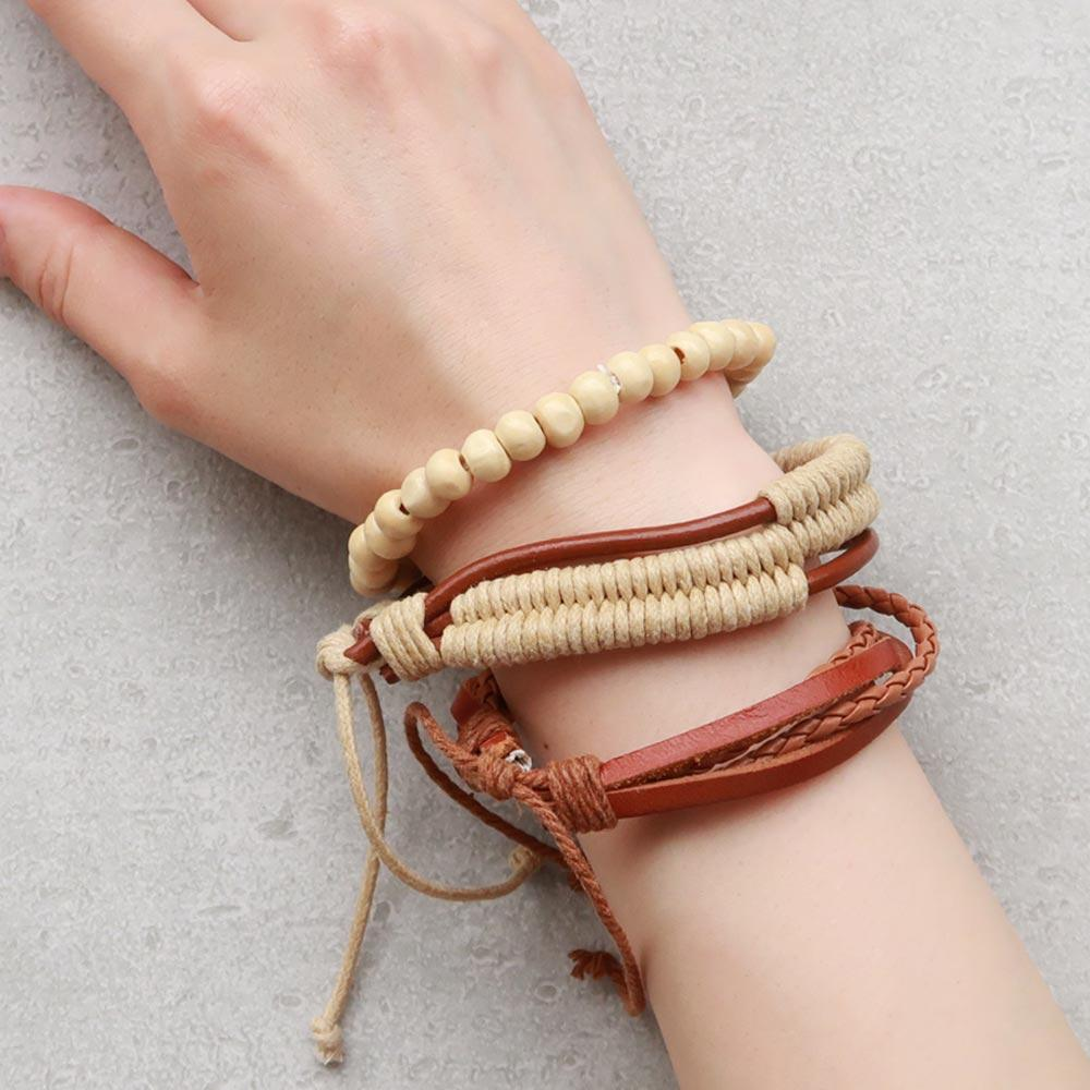 Bracelet Set Faux Leather and Wood