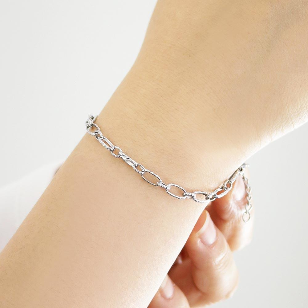 Stainless Steel Textured Chain Bracelet