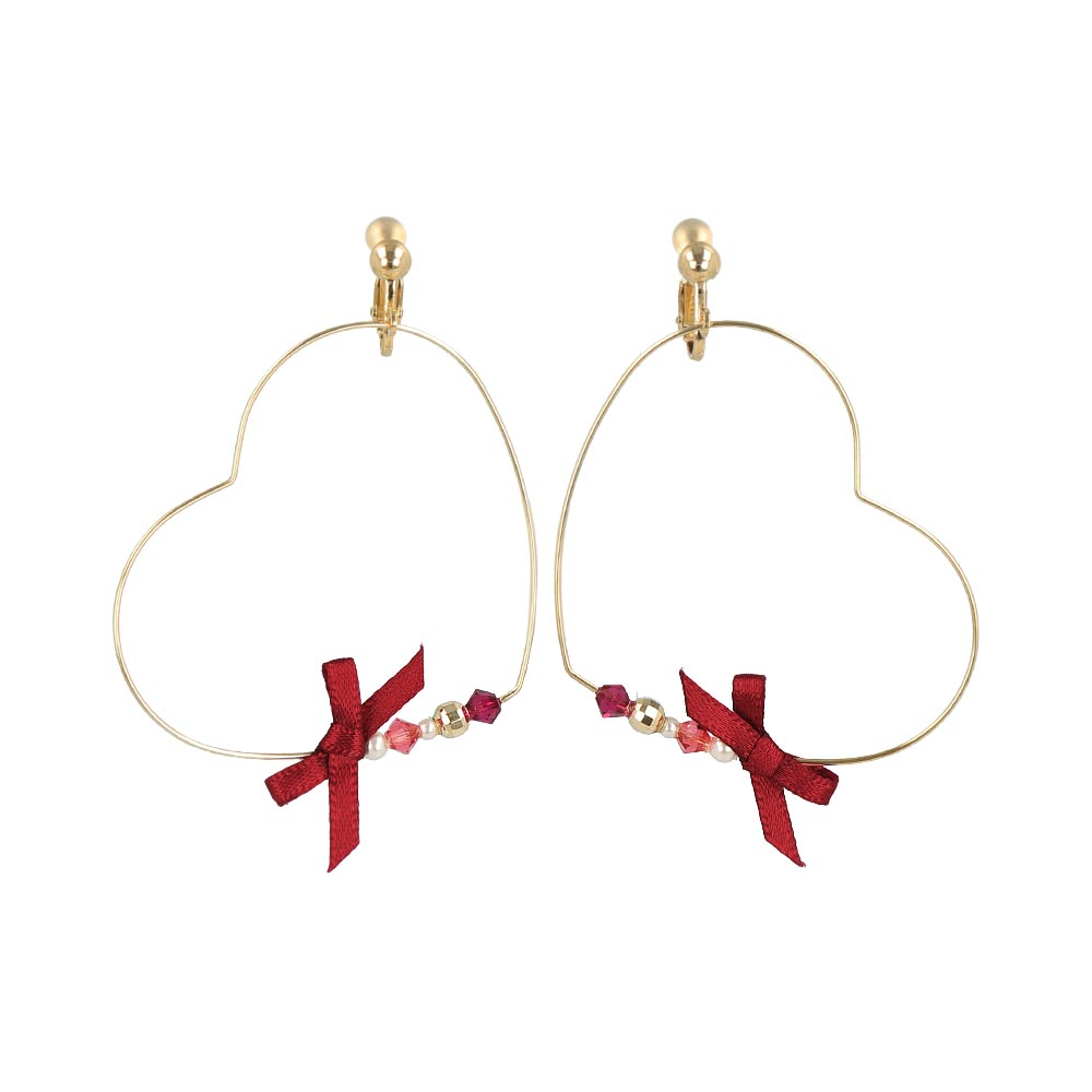 Bow Heart Hoop Clip On Earrings - osewaya