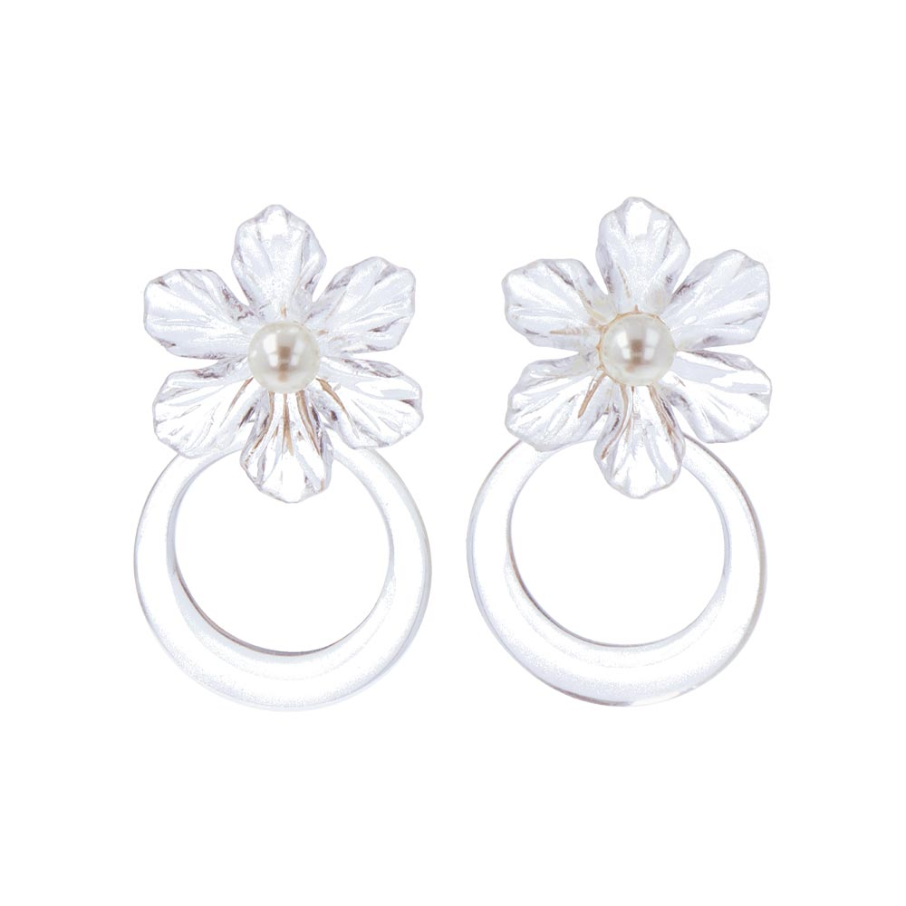 Transparent Flower Statement Clip On Front Back Earrings - osewaya