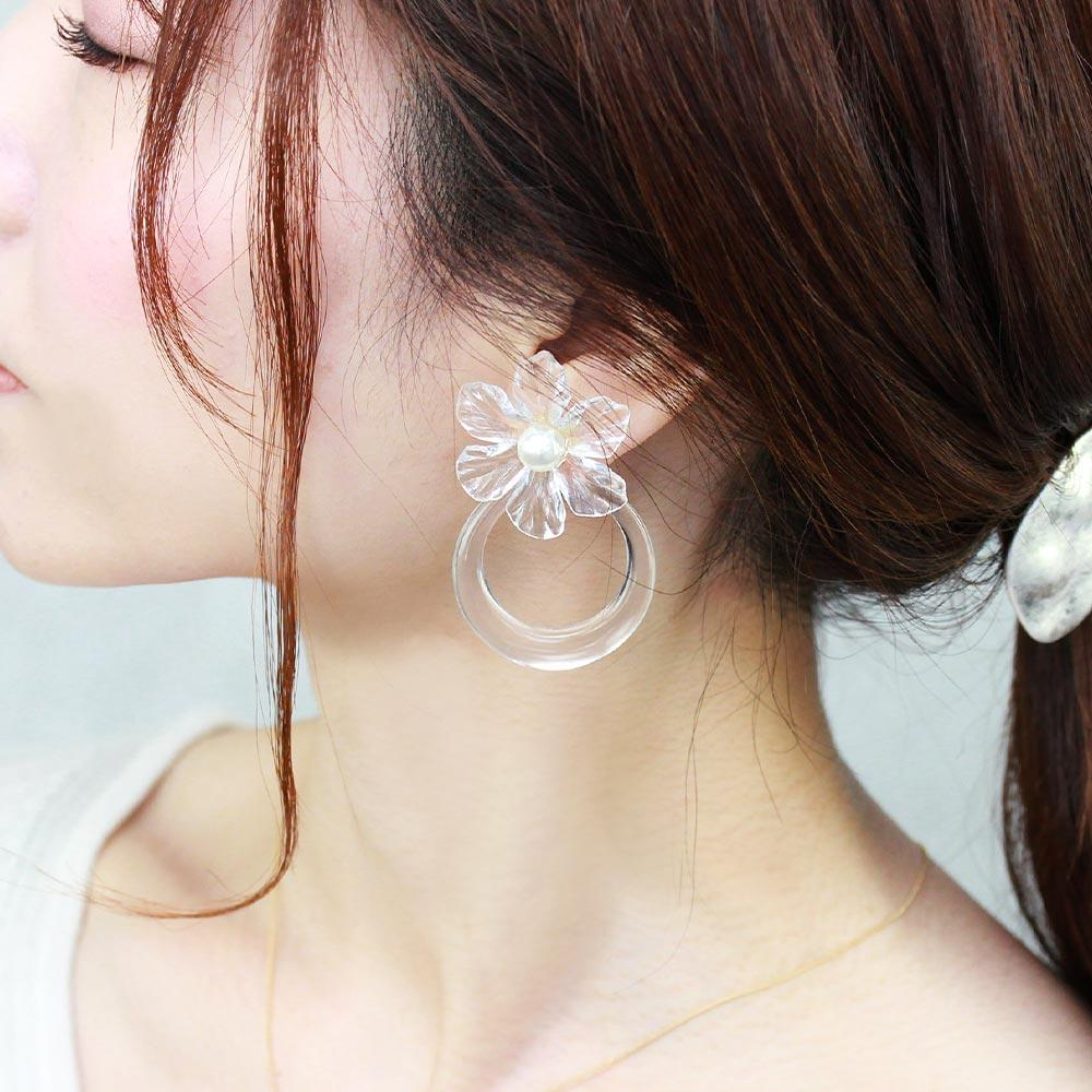 Transparent Flower Statement Clip On Front Back Earrings