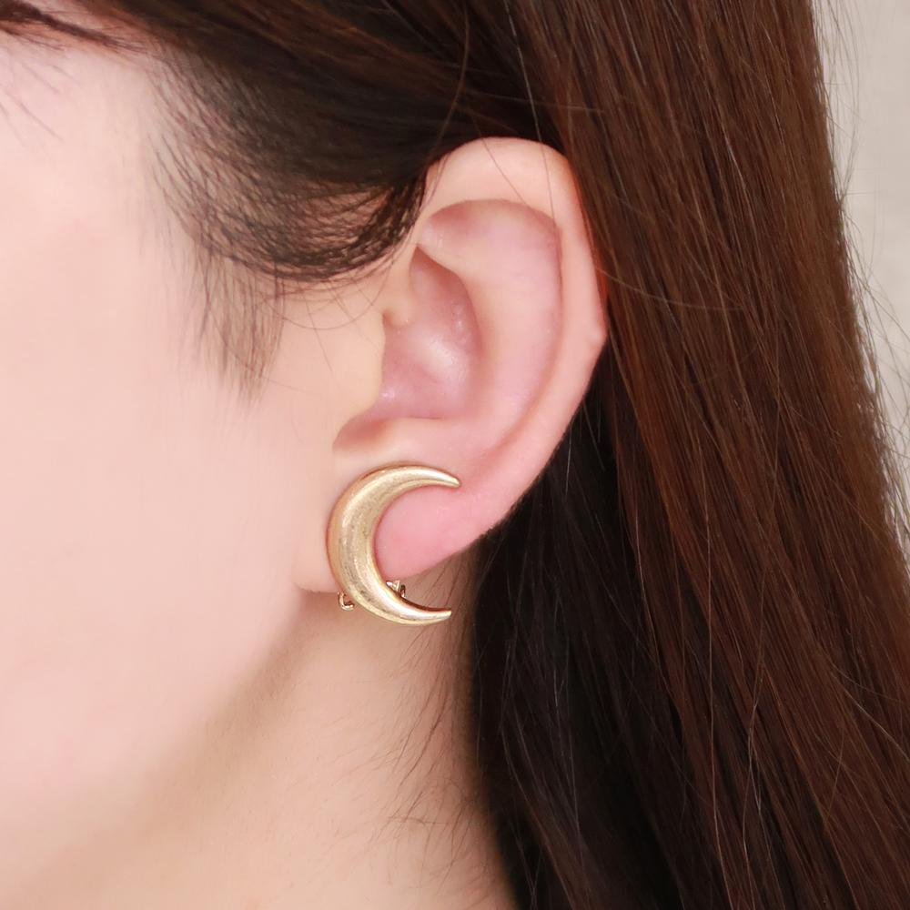 Crescent Moon Clip On Earrings