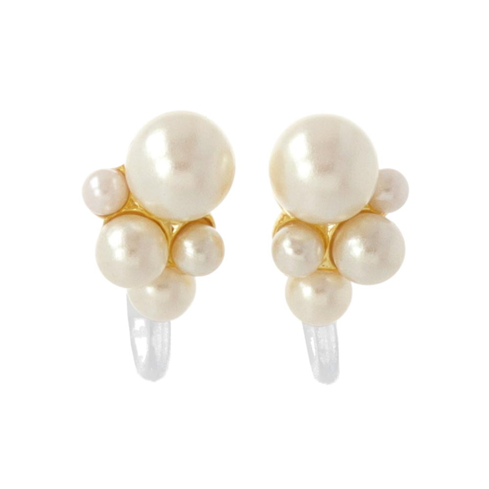 Pearl Cluster Invisible Clip On Earrings - osewaya