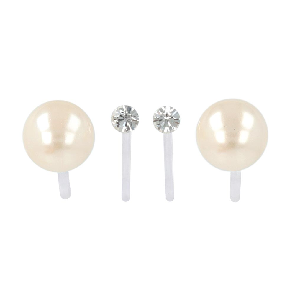 8mm Pearl and Stone Invisible Clip On Earrings Set - osewaya