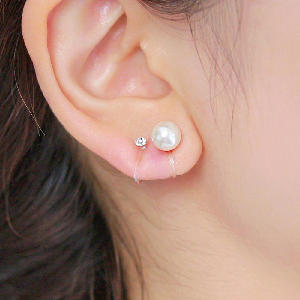 8mm Pearl and Stone Invisible Clip On Earrings Set
