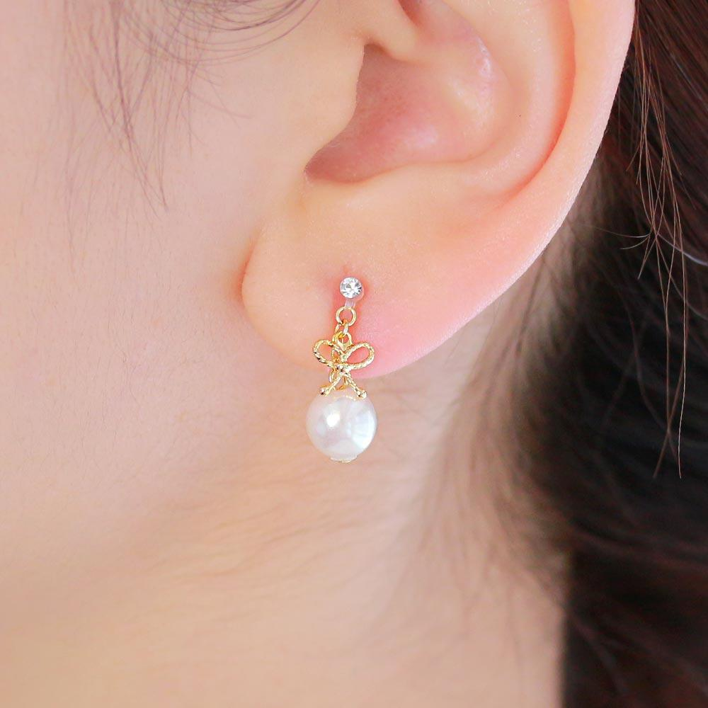 Bow and Pearl Invisible Clip On Earrings