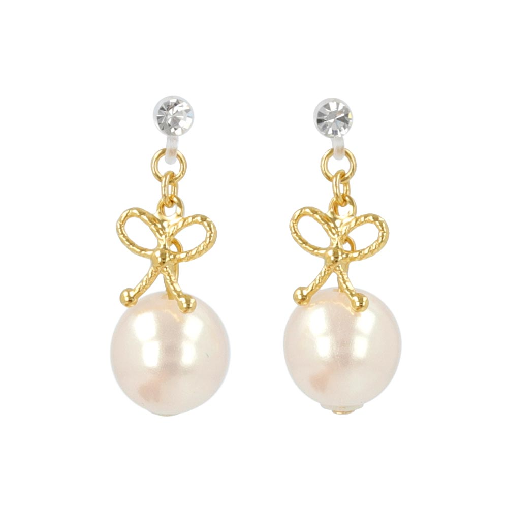 Bow and Pearl Invisible Clip On Earrings - osewaya