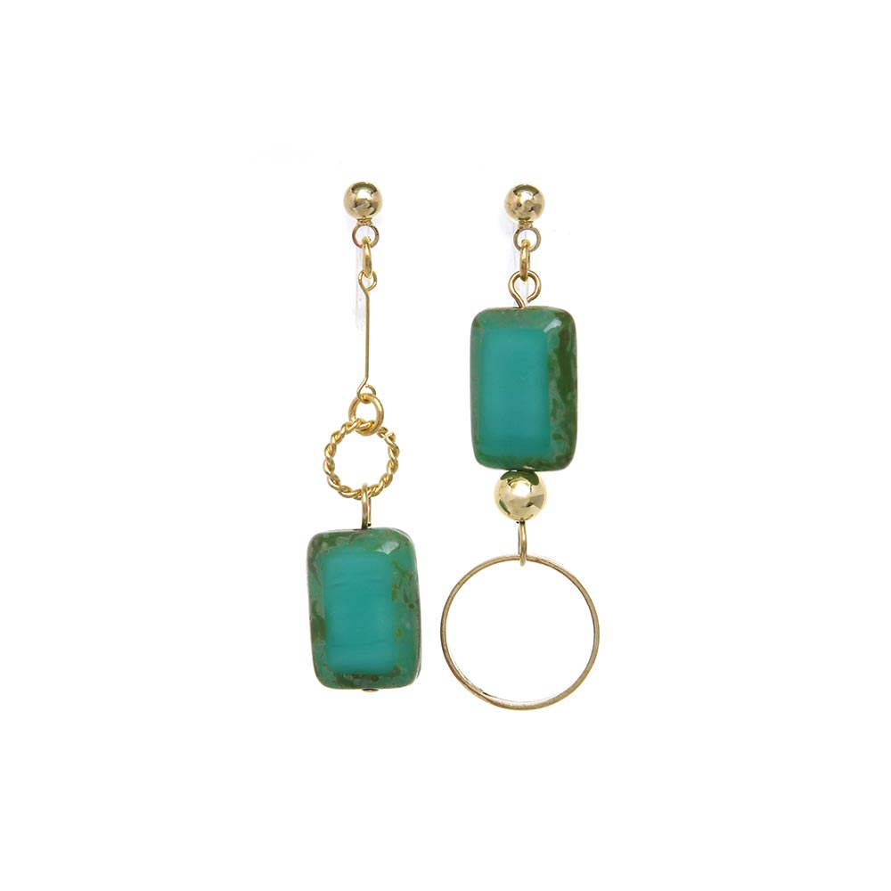 Square Glass Bead   Invisible Clip On Earrings