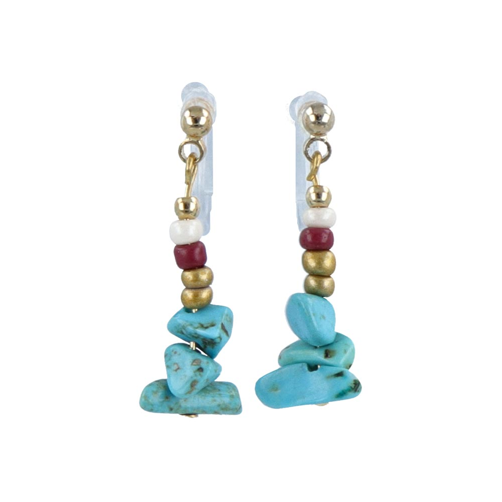 Turquoise Rosary Invisible Clip On Earrings