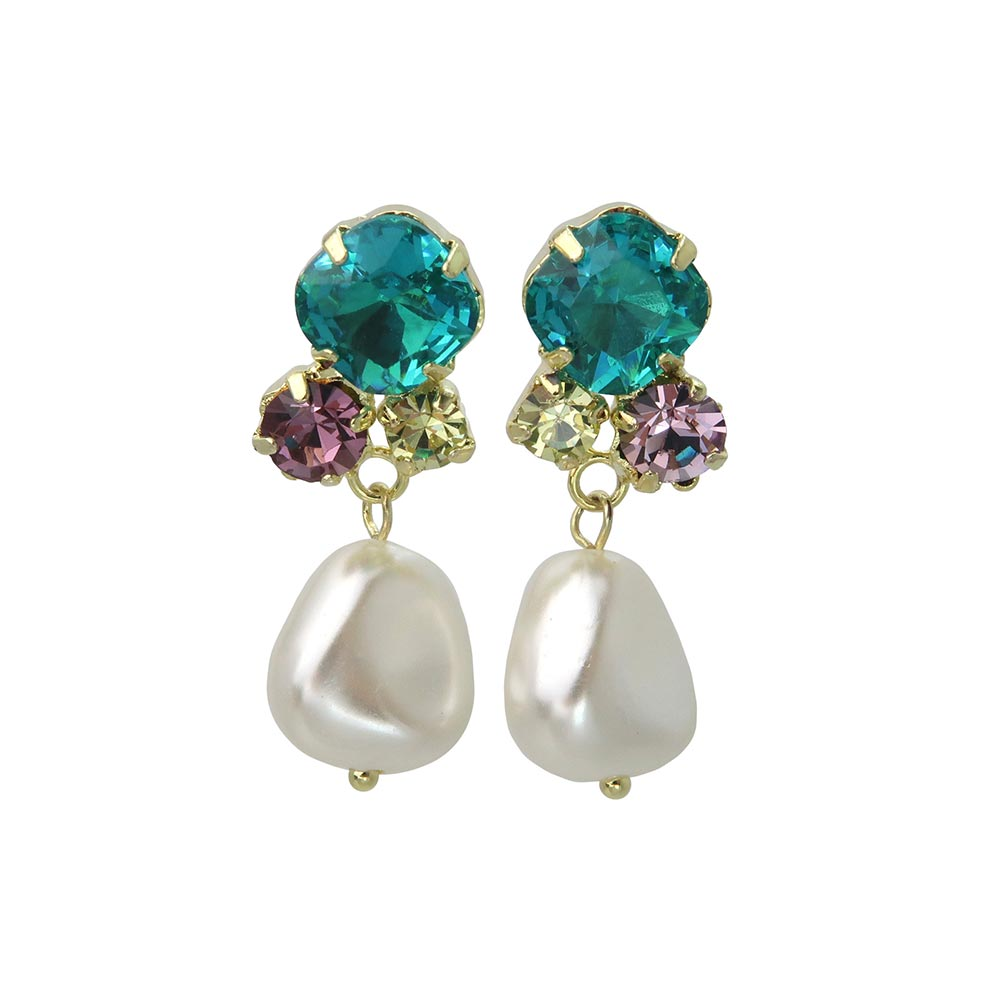 Drop Pearl Multi Stone  Non Pierced Earrings - osewaya