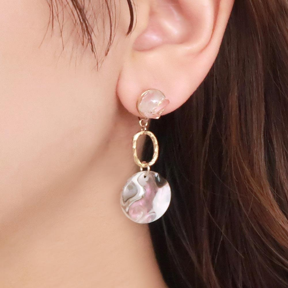 Natural Stone Disc Drop Invisible Clip On Earrings