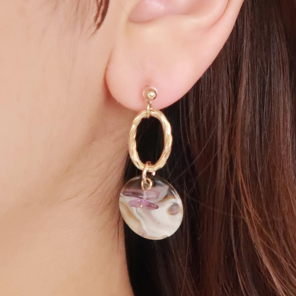 Marble Disc Natural Stone Bead Invisible Clip On Earrings