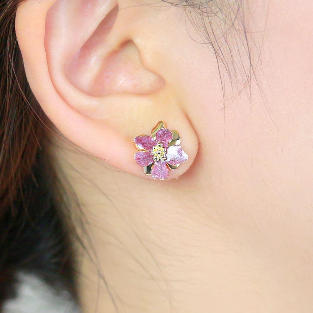 Epoxy Flower Invisible Clip On Earrings