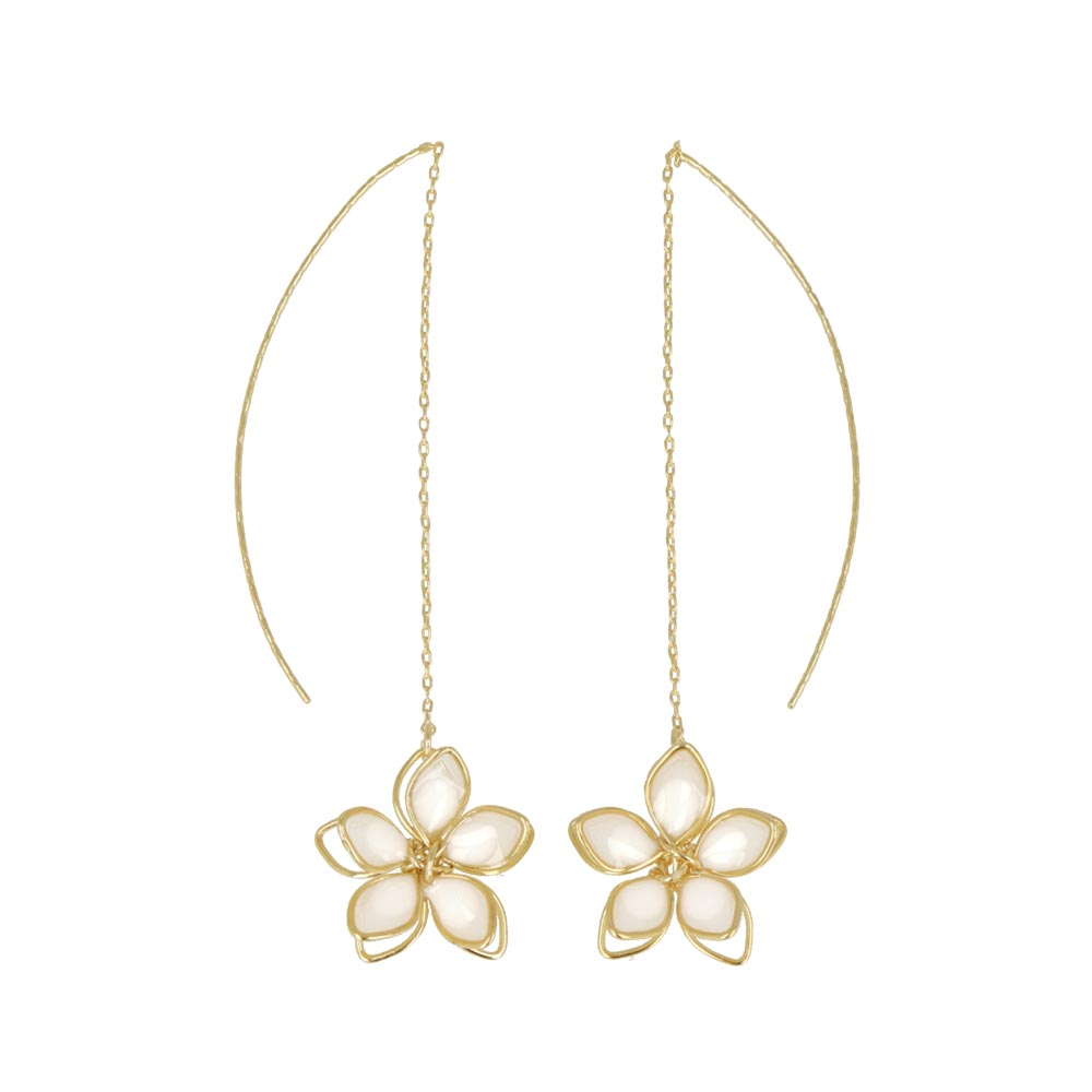 Translucent Wire Flower Threader Earrings - osewaya
