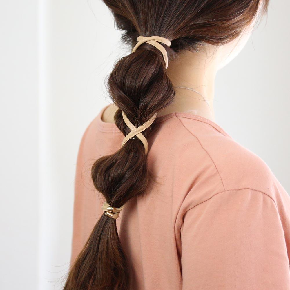 Faux Leather Wire Hair Rope Tie