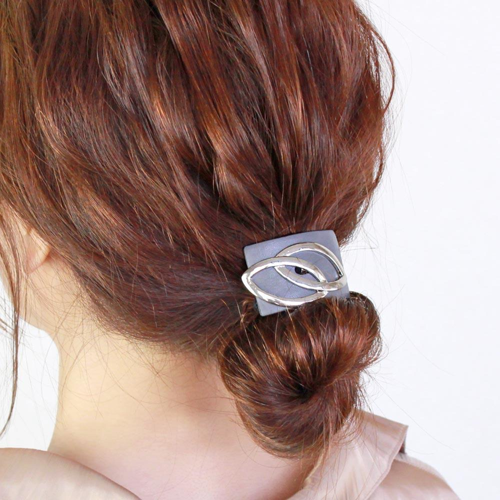 Dual Hair Tie Metal and Leather