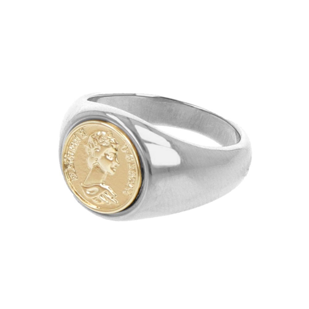 Nickel Free Medal Two Tone Ring
