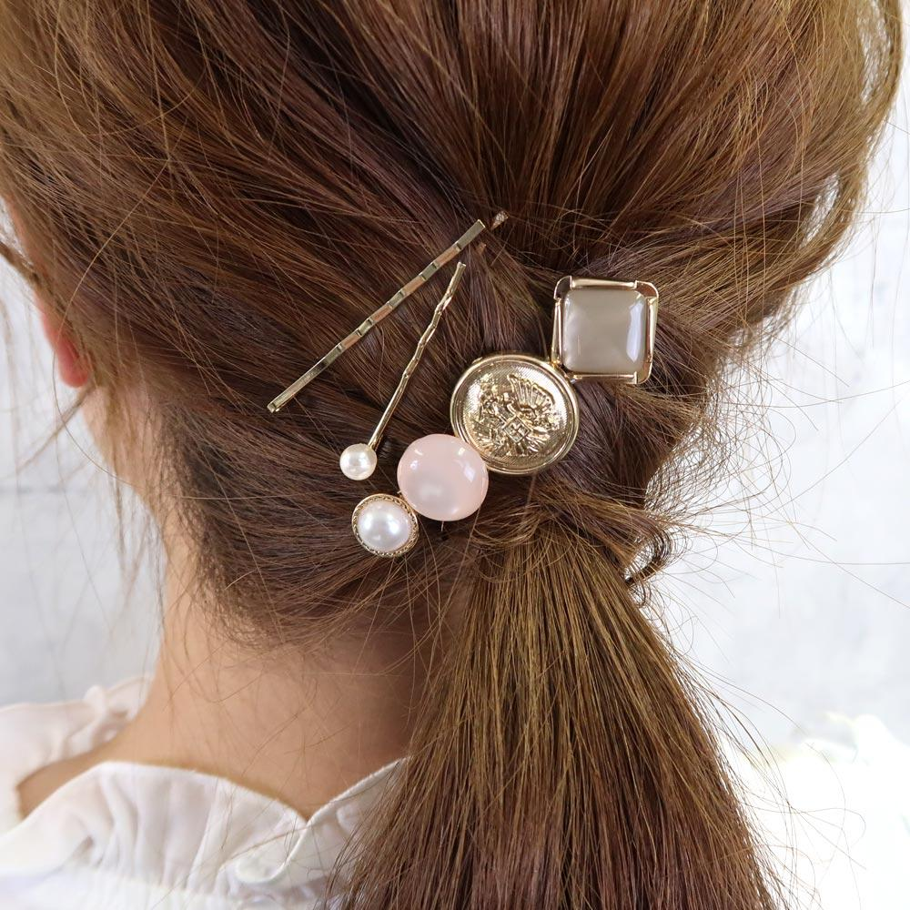 Button Hairpin Set