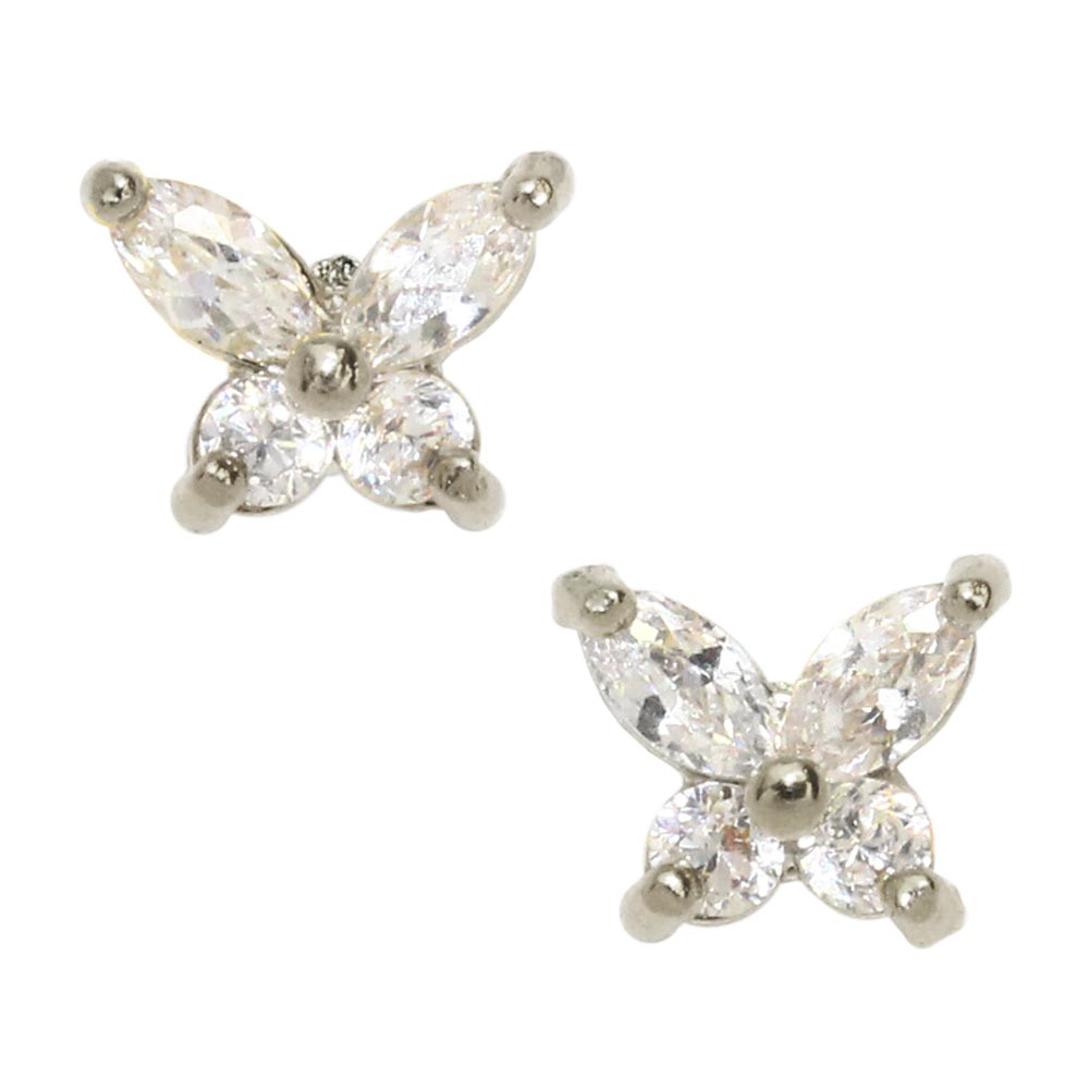 18K Gold Post Butterfly Studs