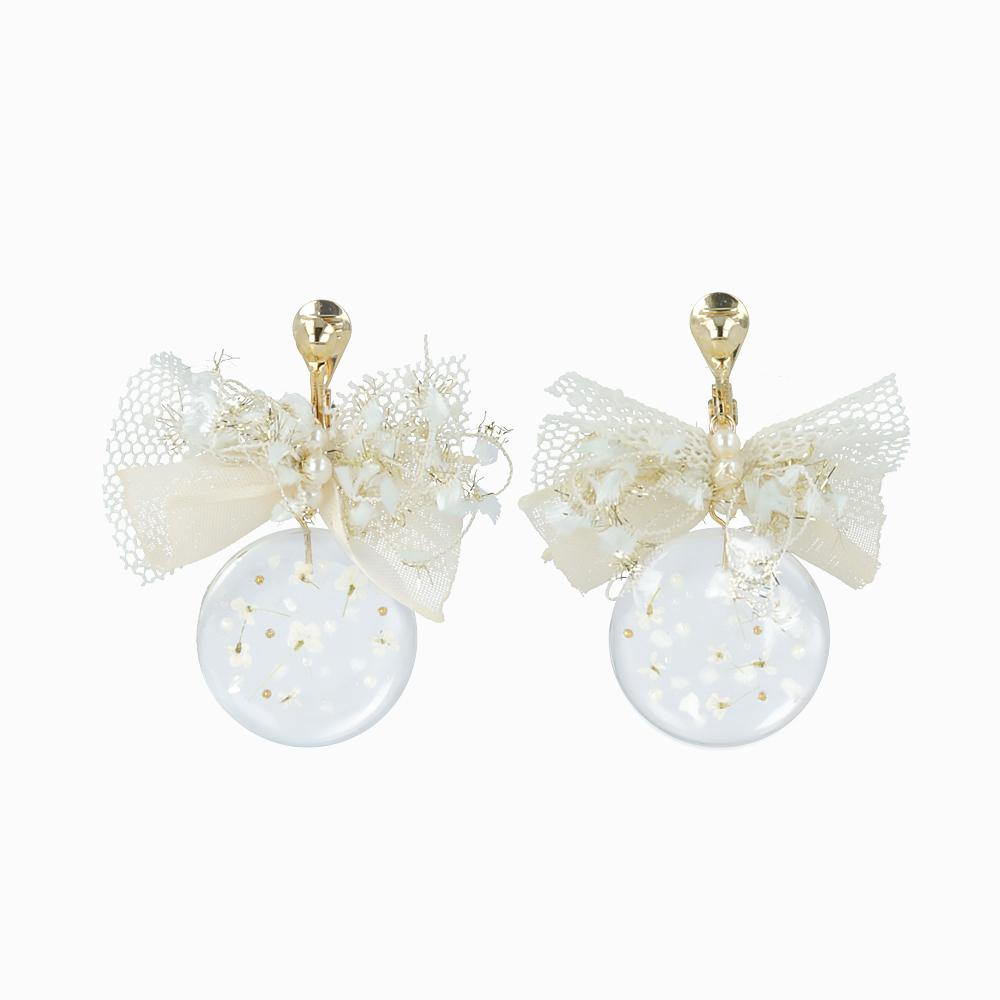 Floating Flower Clip On earrings - osewaya