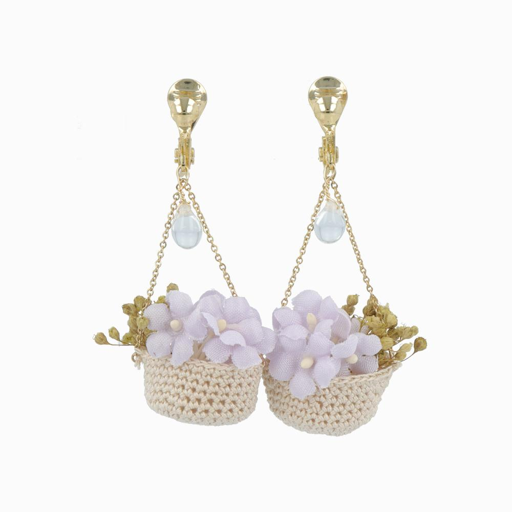 Flower Basket Dangle Clip On Earrings - osewaya