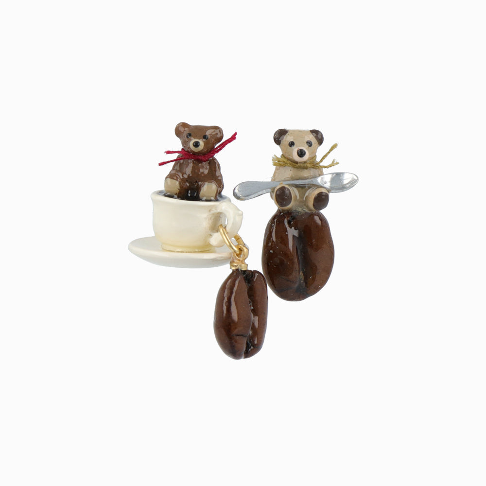 Teddy Bear and Coffee Earrings - Osewaya