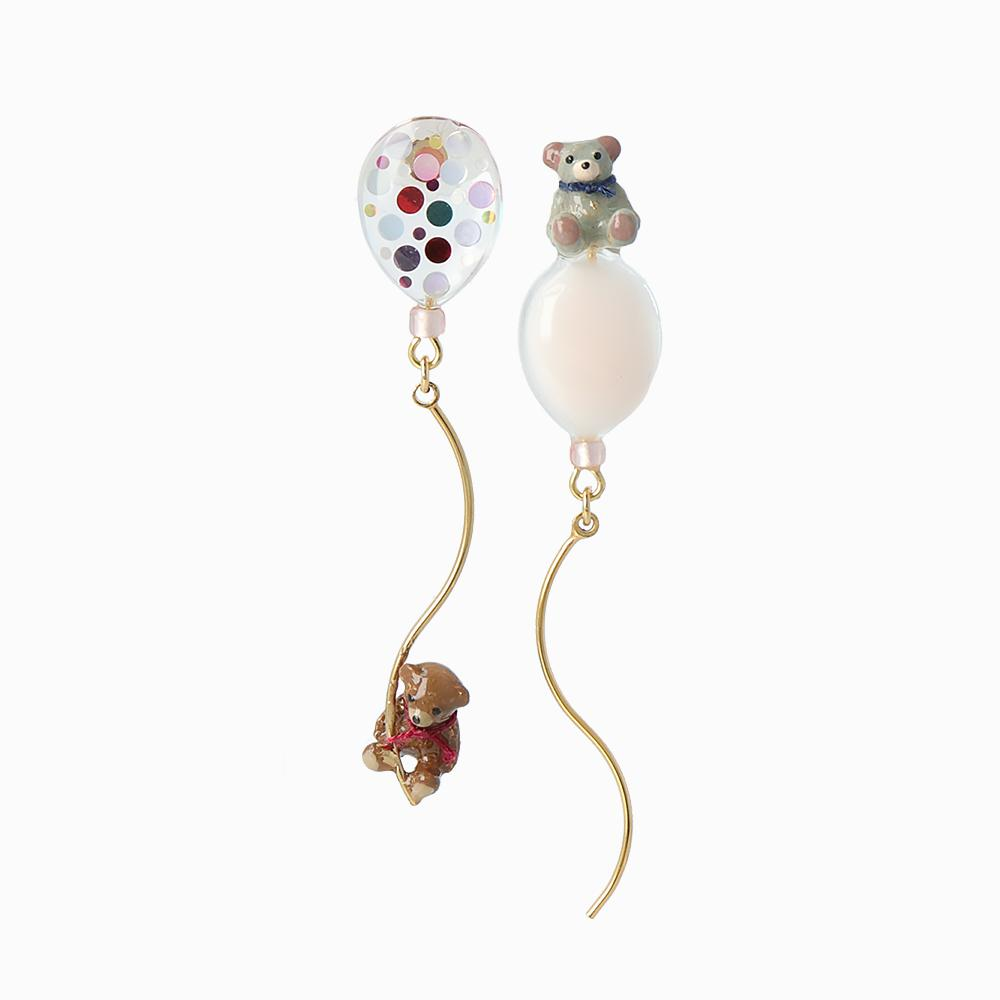 Teddy Bear and Balloon Earrings - osewaya