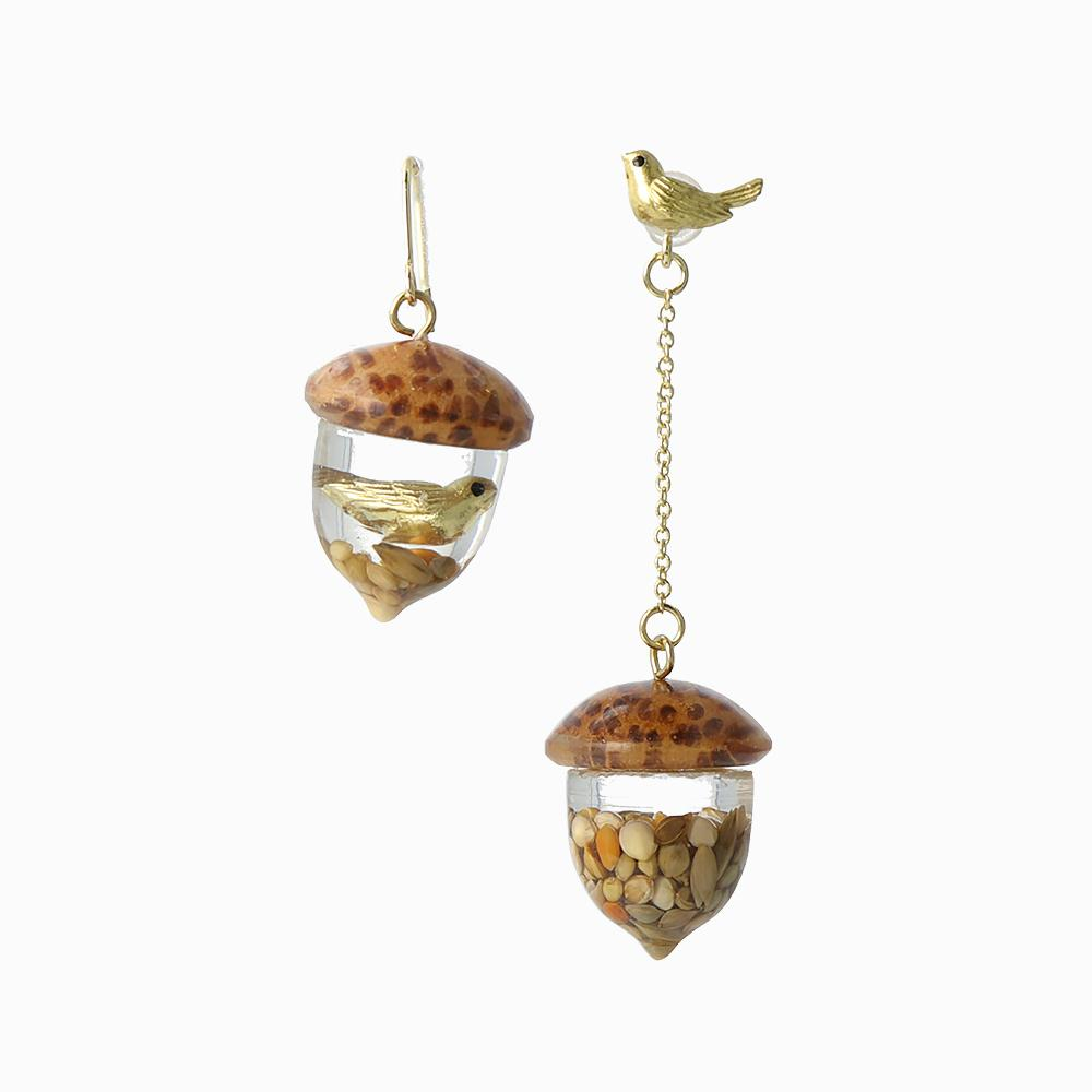 Bird in Acorn Earrings - osewaya