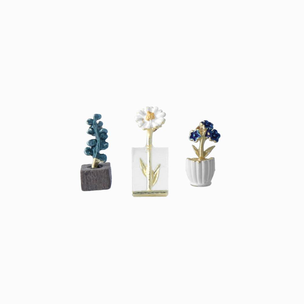 Tiny Flower Vase Nature Earring Set - osewaya