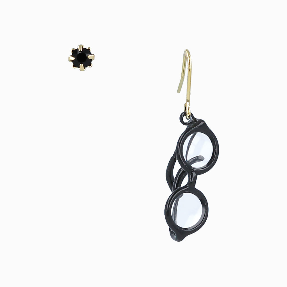 Chic Black Frame Glasses Earrings - Osewaya