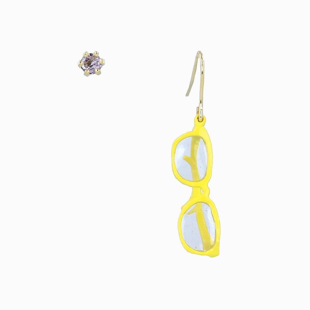 Retro and Funky Yellow Glasses Earrings - osewaya