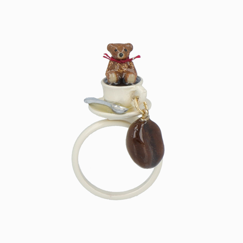 Teddy Bear and Coffee Cup Ring - osewaya