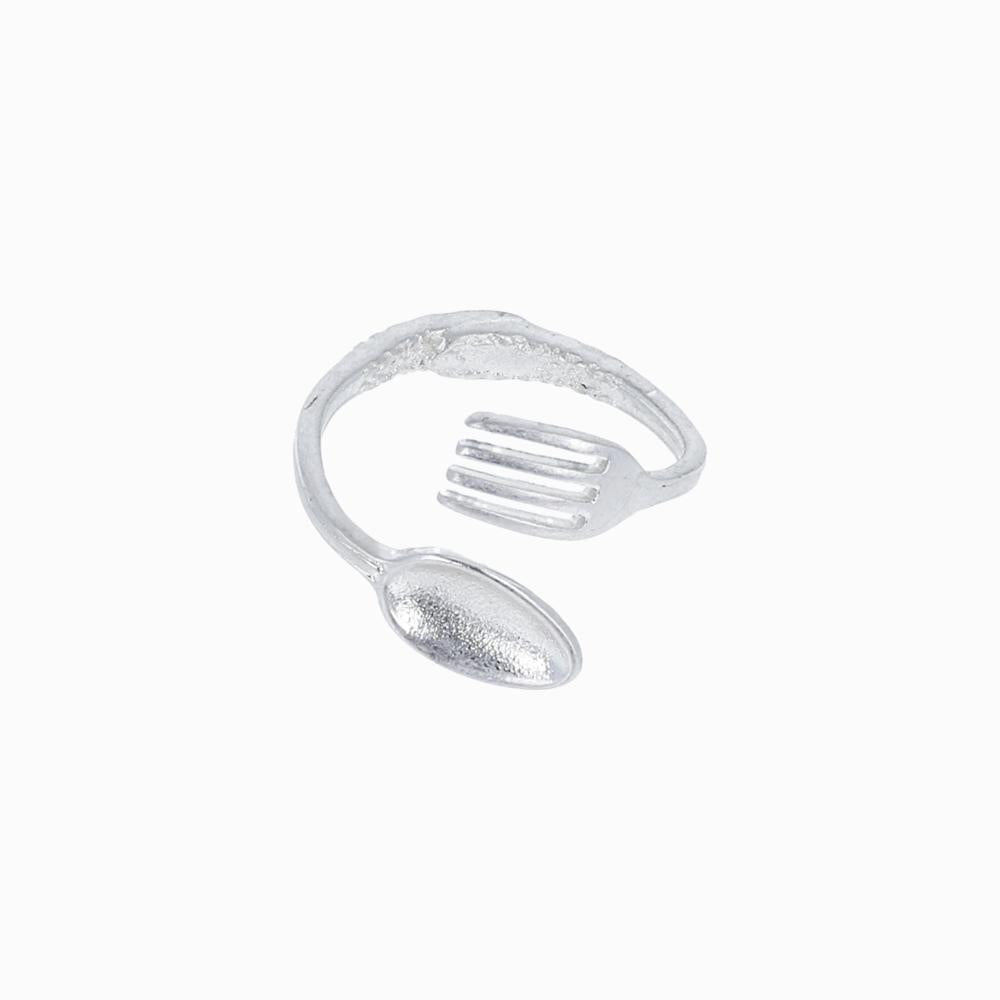 Spoon and Fork Cutlery Open Ring - osewaya
