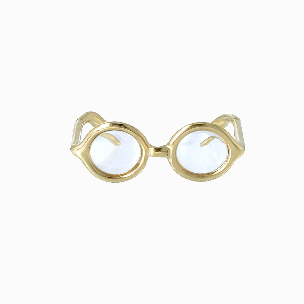 Gold Frame Oval Glasses Ring - Osewaya