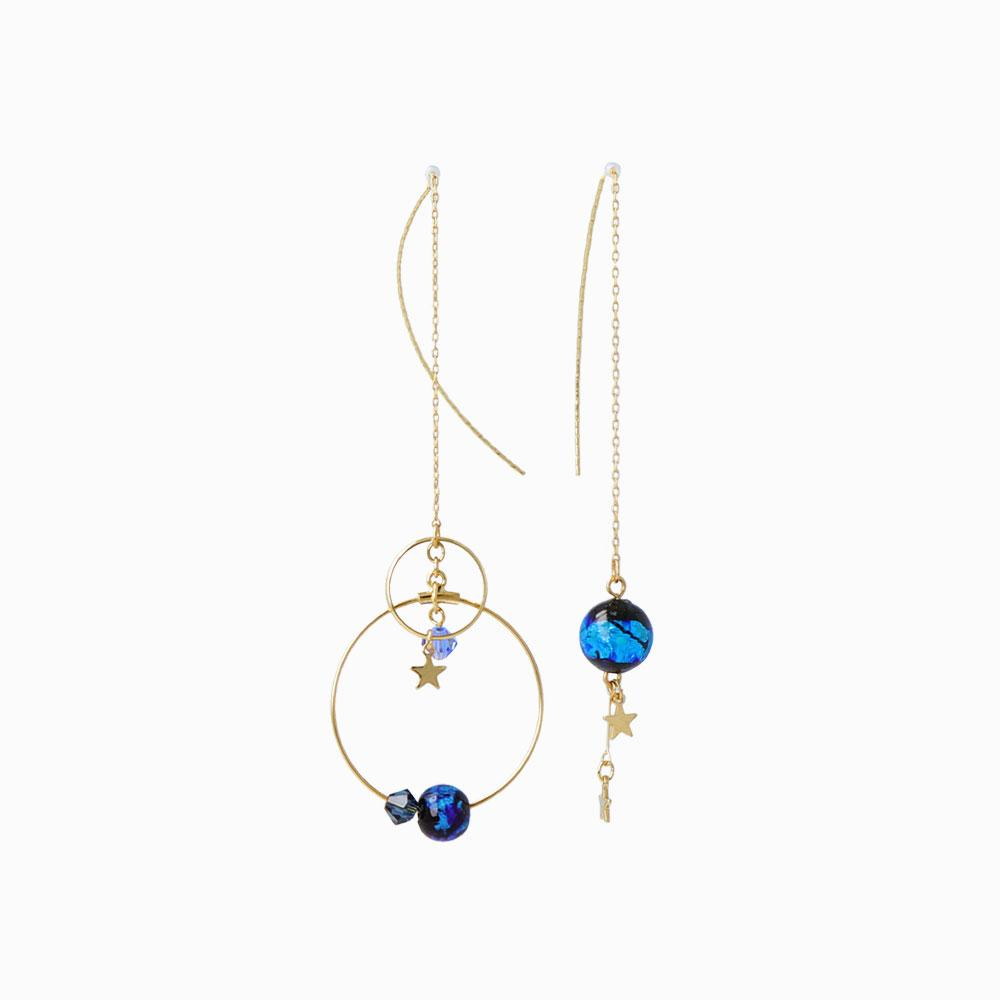 Ruri Glass Bead Asymmetrical Stick Through Earrings