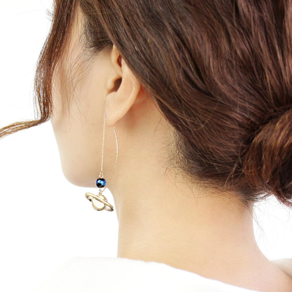 Ruri Glass Bead Saturn Drop Stick Through Earrings