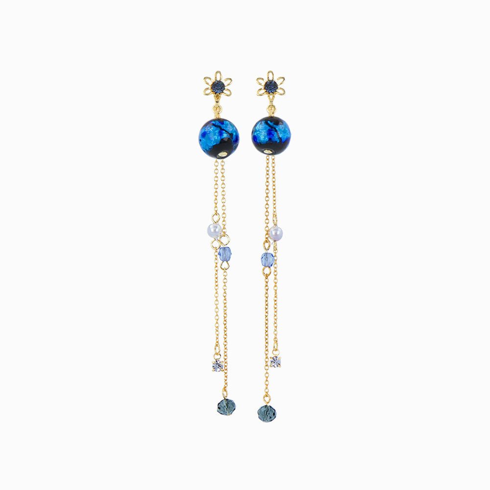 Ruri Glass Beads Chain Drop Clip On Earrings