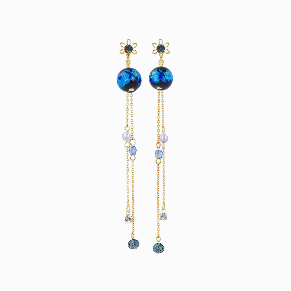 Ruri Glass Beads Chain Drop Earrings