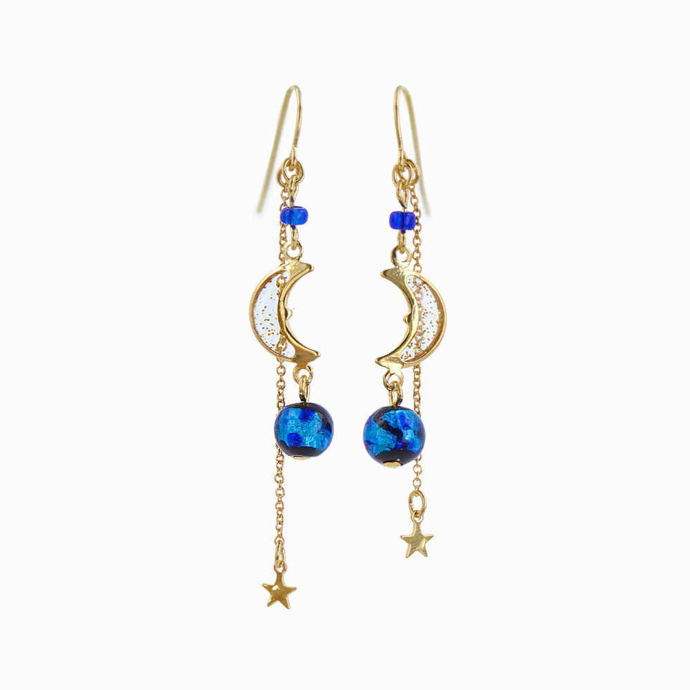 Ruri Glass Beads Celestial Drop Earrings