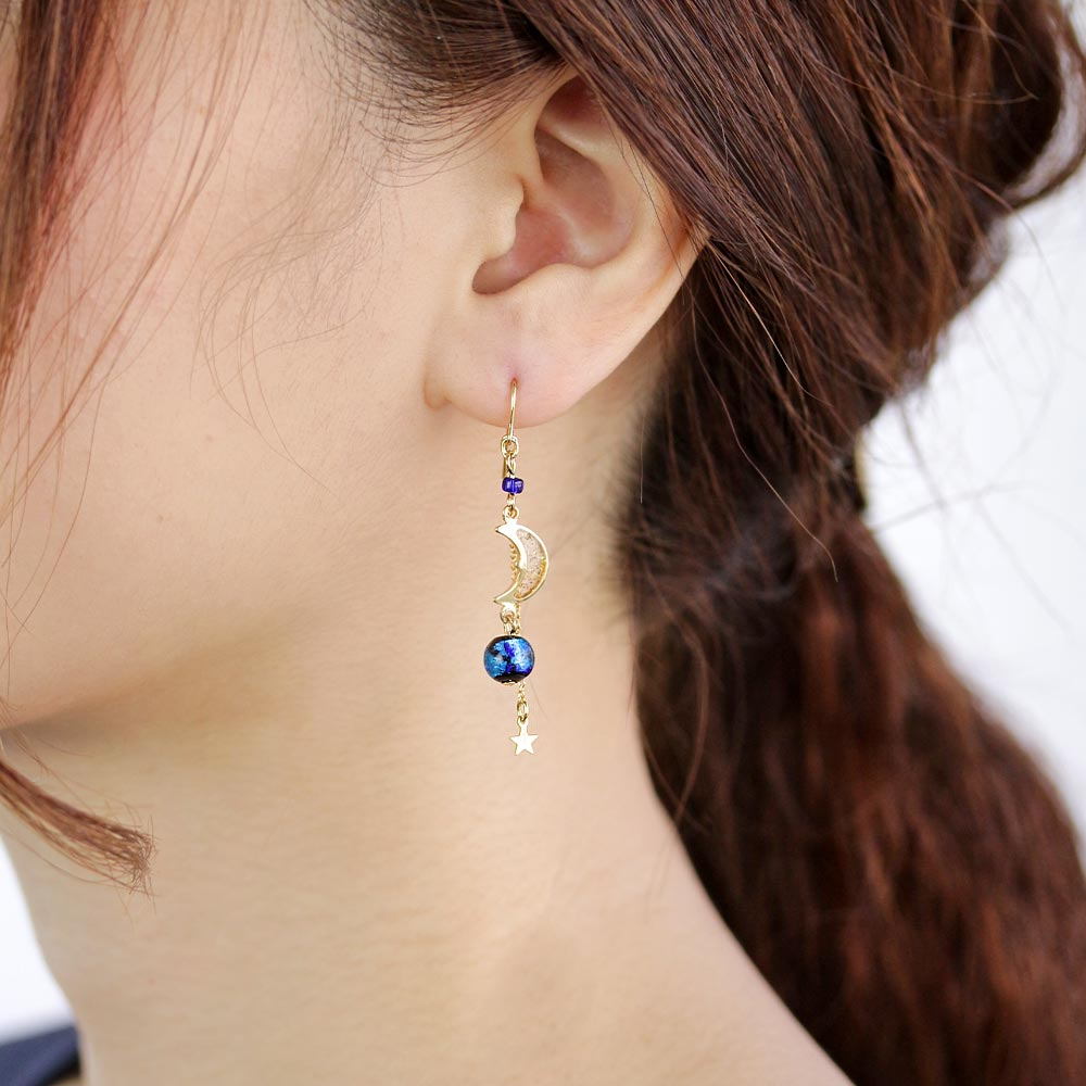 Ruri Glass Beads Celestial Drop Earrings - Osewaya
