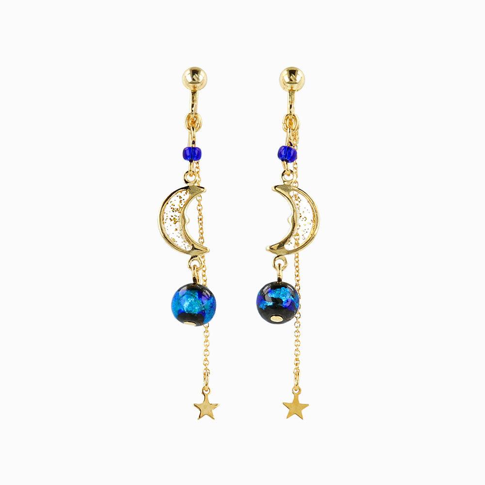 Ruri Glass Beads Celestial Drop Clip On Earrings