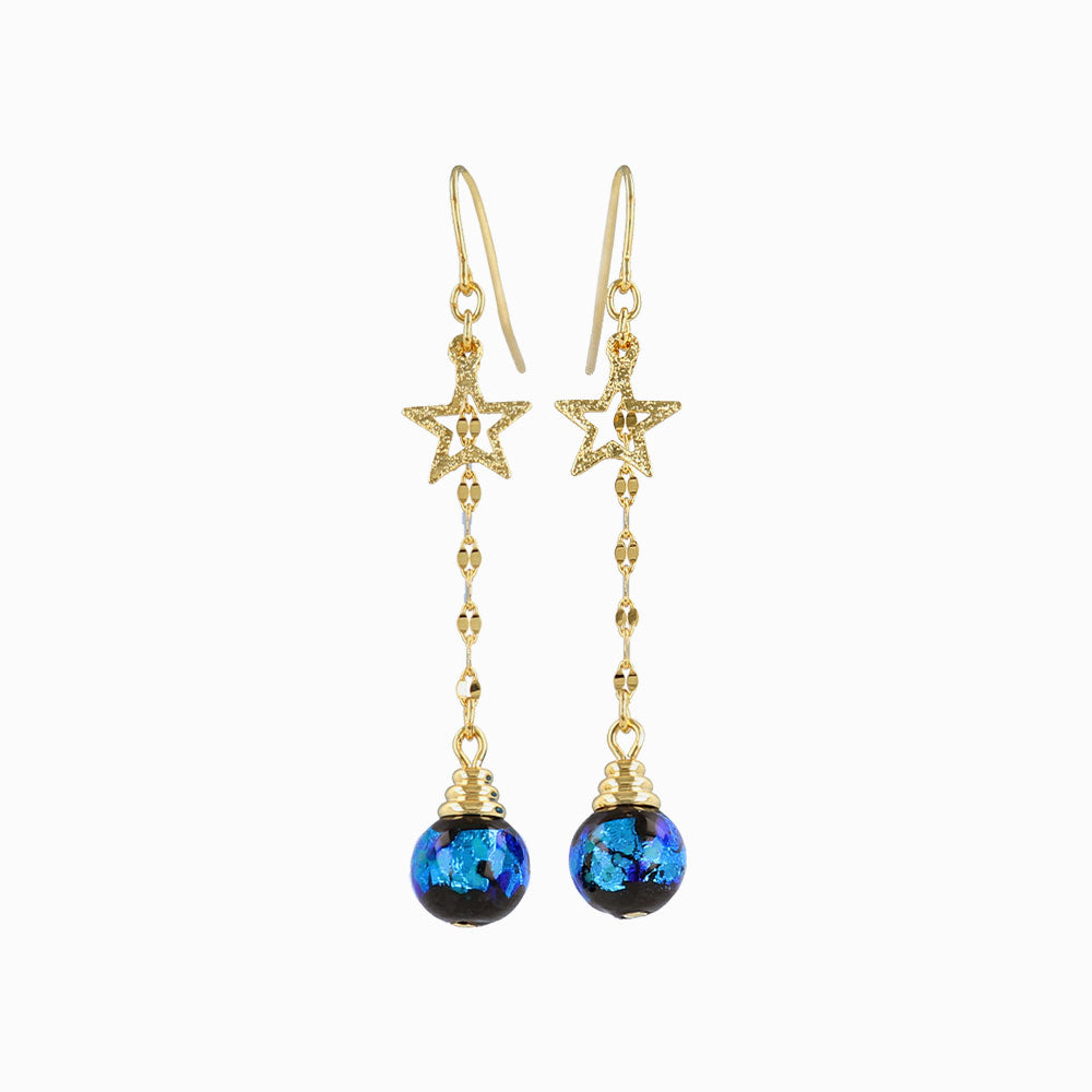 Ruri Glass Beads Star Earrings