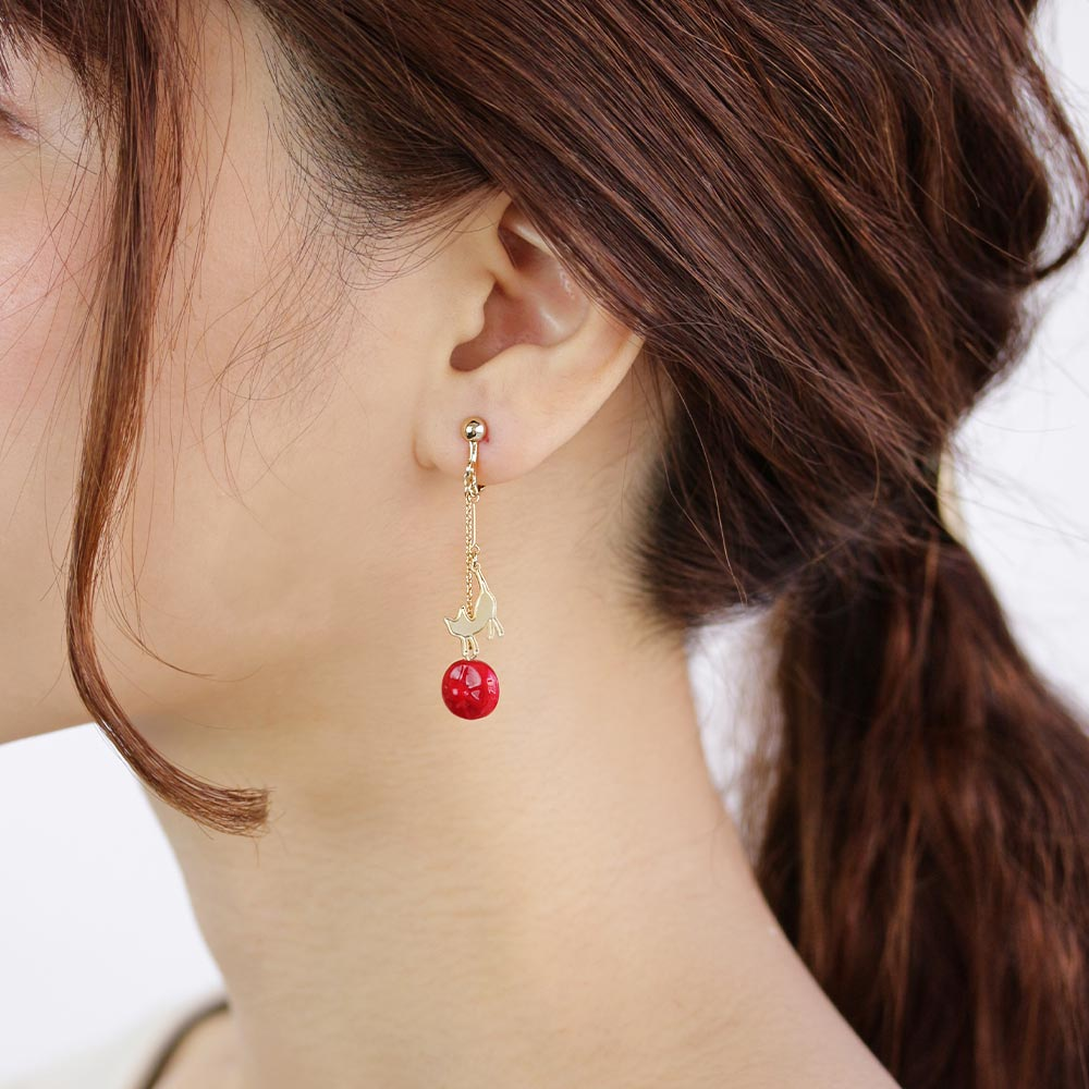 Berry Glass Beads and Cat Drop Clip On Earrings - Osewaya