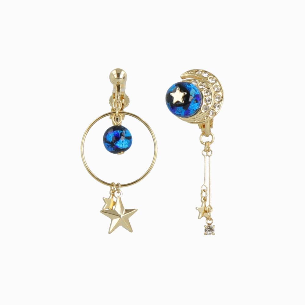 Ruri Glass Bead Celestial Clip On Earrings - osewaya